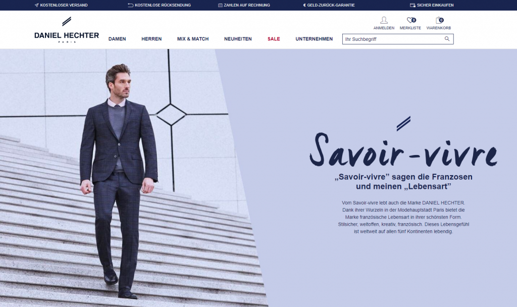 classic fit 79125 09fa0 DANIEL HECHTER PARIS: New online shop launched for Germany ...